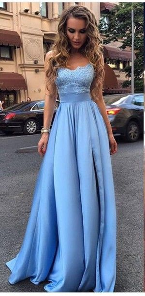 9d85ae05bee 2018 A-line Strapless Lace Bodice Satin Skirt Prom Dress Evening Gown  Zipper Back Closure