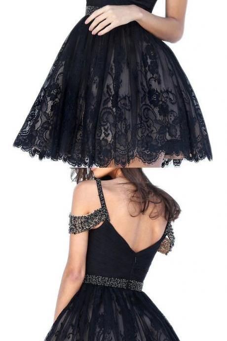 Dressytailor A-line Off the Shoulder Sweetheart Short Lace Prom Homecoming Dress with Beading