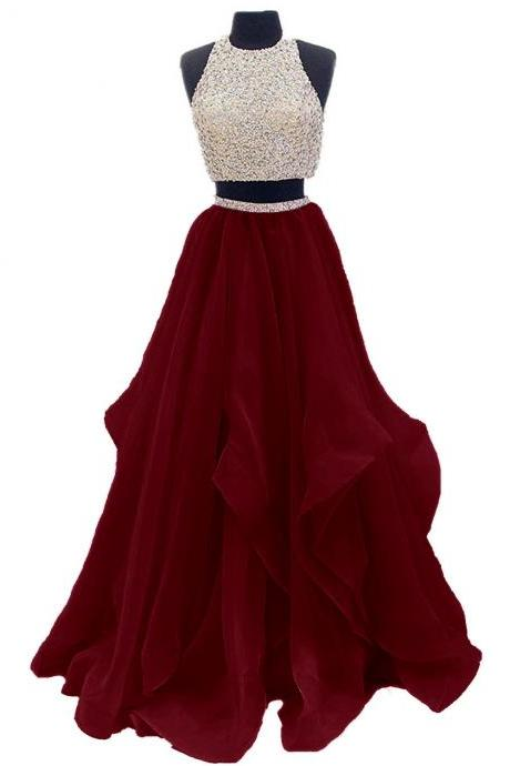 28d7c6d9b58 Hebeos. love. save-icon. Two Piece Floor Length Organza Prom Dress ...